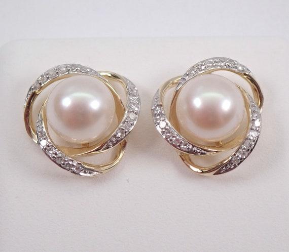 Yellow Gold Pearl and Diamond Halo Stud Earrings June Birthstone Studs