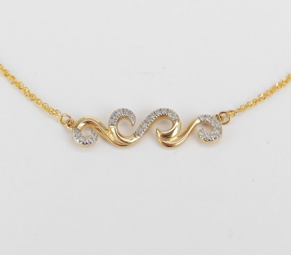 Diamond Bar Necklace, Scroll Design Cluster Pendant Yellow Gold Wedding Gift Chain 17""
