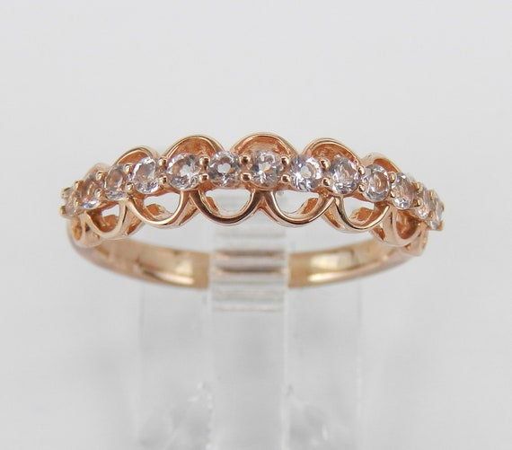 Morganite Wedding Ring Anniversary Band Rose Gold Size 7 Pink Aquamarine Gemstone FREE Sizing