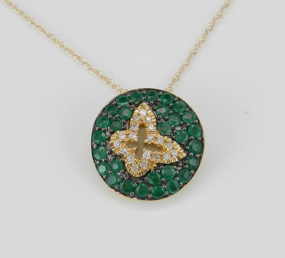 Emerald Necklace, Diamond Cluster Pendant, Butterfly Necklace, 14K Yellow Gold Necklace, Emerald Cluster Pendant, Gold Necklace and Chain