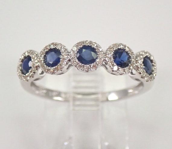 14K White Gold Diamond and Sapphire Halo Wedding Ring Anniversary Band Size 7 FREE Sizing