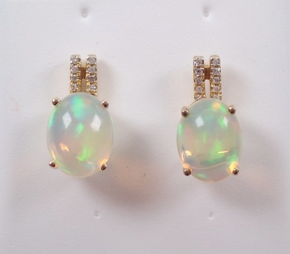Opal and Diamond Drop Earrings Yellow Gold October Birthstone Multi Color