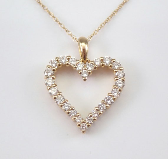 "Yellow Gold Diamond Heart Pendant Necklace 18"" Chain Wedding Graduation Gift Present"