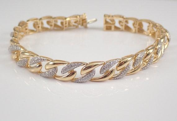 "Mens Unisex Yellow Gold 1.00 ct Diamond Tennis Bracelet Link 8.5"" GREAT GIFT"