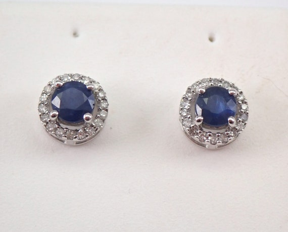 Sapphire and Diamond Stud Earrings Halo Studs White Gold September Birthstone