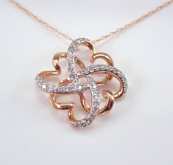"Rose Gold Diamond Heart Pendant Four Leaf Clover Necklace 18"" Chain Wedding Gift"