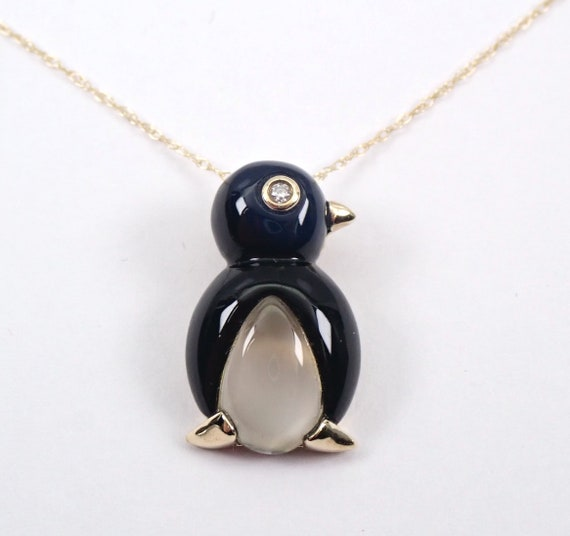 "Diamond Onyx Mother of Pearl PENGUIN Pendant Necklace 18"" Chain Yellow Gold"