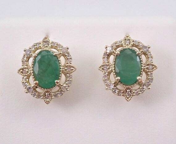 Emerald and Diamond Stud Earrings Halo Studs Yellow Gold May Birthstone, Emerald Studs, Emerald Earrings