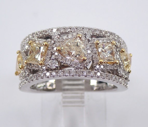 Fancy Yellow CANARY Diamond Wedding Ring Wide Anniversary Band 18K White Gold Size 6.5 Princess Cut and Trillion Diamonds