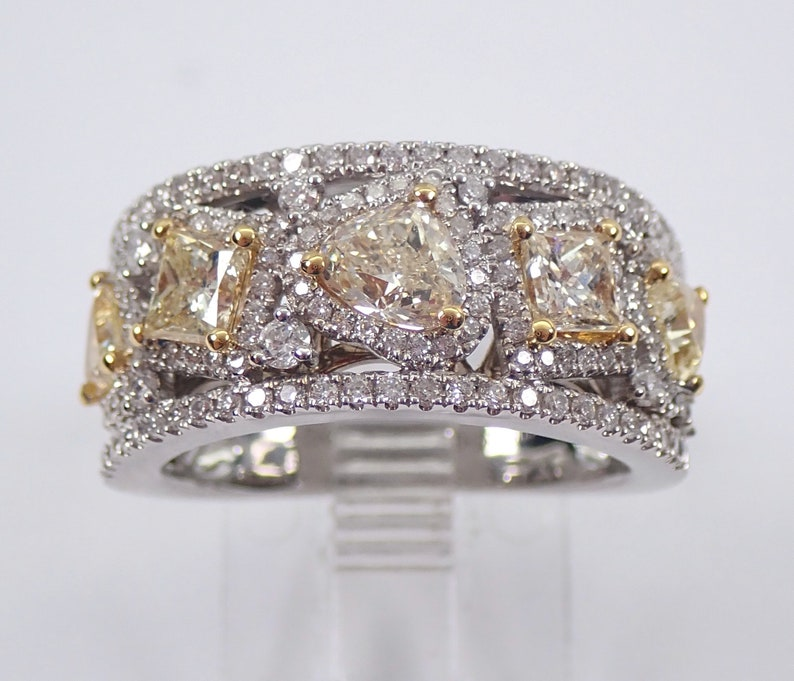 256e4e34519f0 Fancy Yellow CANARY Diamond Wedding Ring Wide Anniversary Band 18K White  Gold Size 6.5 Princess Cut and Trillion Diamonds