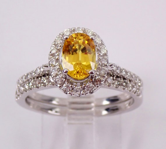 Yellow Sapphire and Diamond Halo Engagement Ring Wedding Band Set 14K White Gold Size 7 FREE Sizing