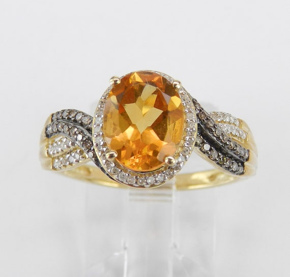 Citrine Ring, Yellow Gold Engagement Ring, Citrine and Diamond Ring, Halo Engagement Ring, Size 7, November Gemstone