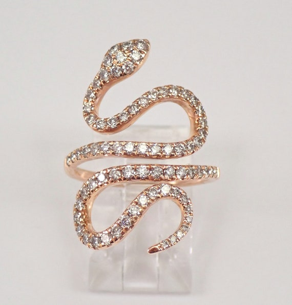14K Rose Gold 1.00 ct Diamond Wraparound SNAKE Ring Size 7 Free Sizing FREE Sizing
