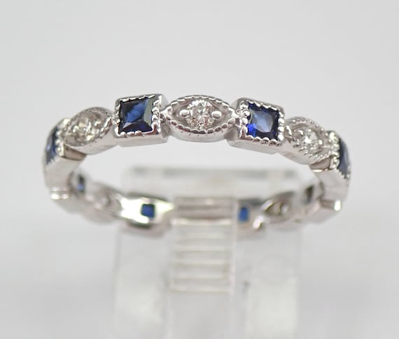 Diamond and Sapphire Eternity Wedding Ring Anniversary Band 14K White Gold Size 7