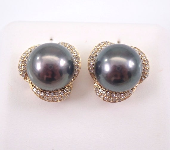 9 mm Black Tahitian Pearl and Diamond Stud Earrings 14K Yellow Gold June Birthstone