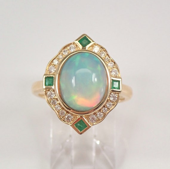 14K Yellow Gold 2.75 ct Opal Diamond and Emerald Halo Engagement Ring Size 7 FREE Sizing