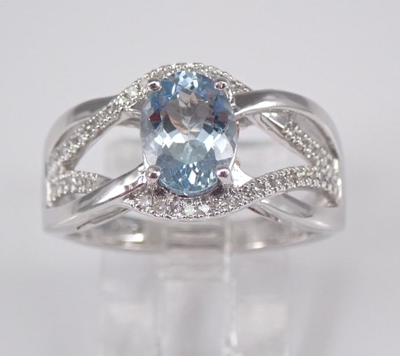 Diamond and Aquamarine Engagement Ring Aqua White and Rose Gold Size 7 March Gemstone FREE Sizing