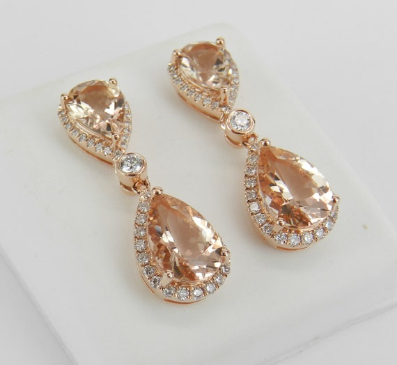 Morganite Earrings, 14K Rose Gold 5.65 ct Morganite and Diamond Halo Drop Dangle Earrings Gemstone
