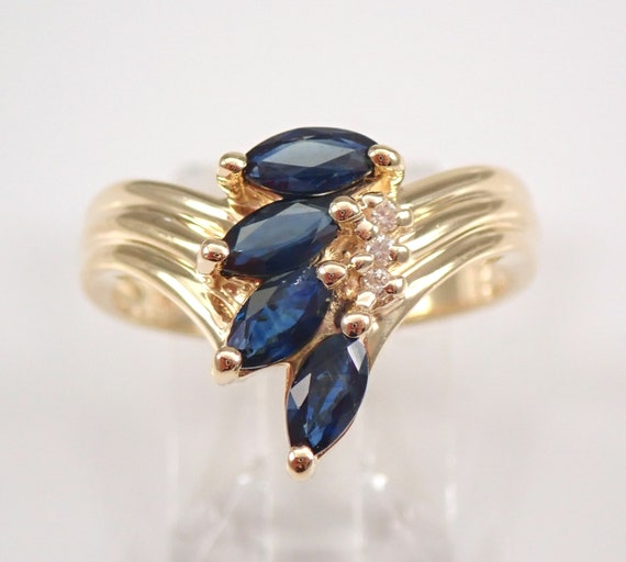 14K Yellow Gold Diamond and Sapphire Cluster Chevron Ring Size 8 Vintage Jewelry FREE Sizing