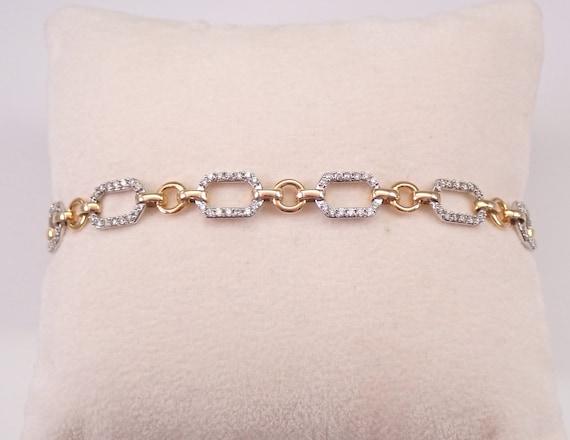 14K White and Yellow Gold Diamond Station Tennis Bracelet PERFECT GIFT