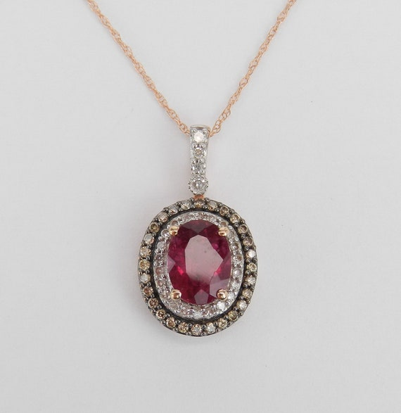 "Fancy Cognac Diamond and Rubellite Halo Pendant Necklace Rose Gold 18"" Chain"