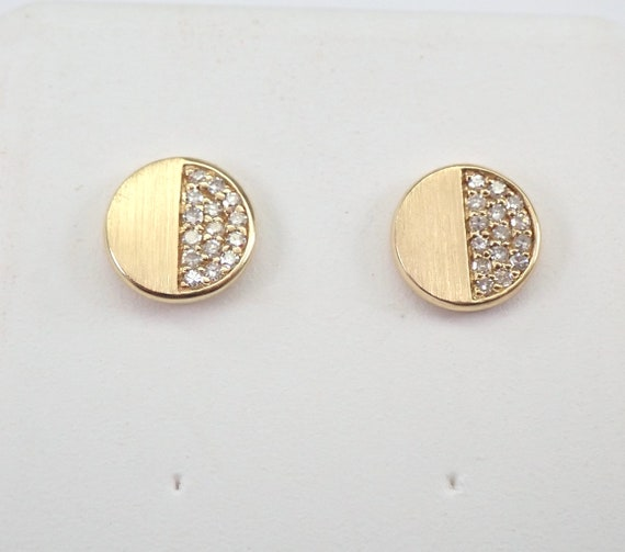 Round Yellow Gold Diamond Studs Cluster Stud Earrings Bridesmaid Gift Wedding Gift