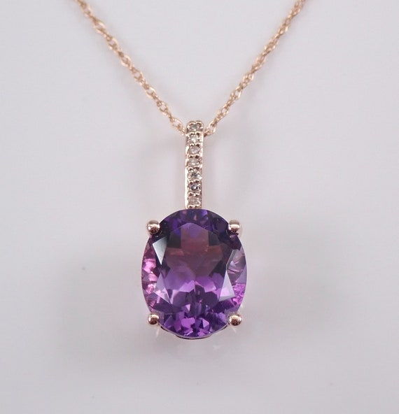 """Diamond and Amethyst Solitaire Necklace Pendant 18"""" Rose Gold Chain February Birthstone"""