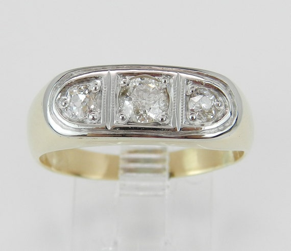 Antique 18K Gold Three Stone Old Miner Diamond Anniversary Gypsy Ring Band 8.5