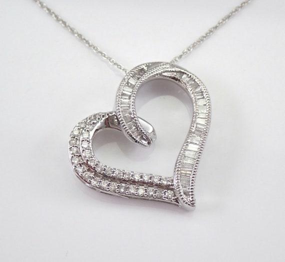 "White Gold .65 ct Diamond Heart Pendant Necklace 18"" Chain Wedding Graduation Gift Present"