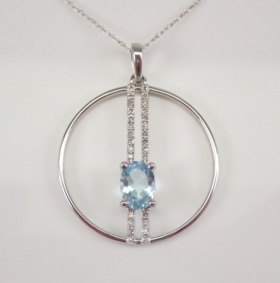 "14K White Gold Blue Topaz and Diamond Pendant Circle Necklace 18"" Chain December Gemstone"