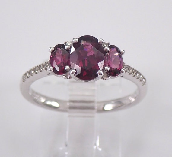 White Gold Rhodolite Garnet and Diamond Three Stone Engagement Ring Size 7.25