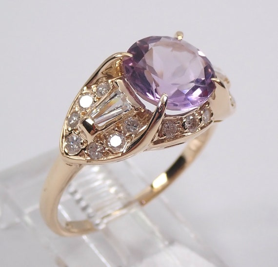 Vintage 14K Yellow Gold Diamond and Amethyst Engagement Ring Size 6.5 Rose de France