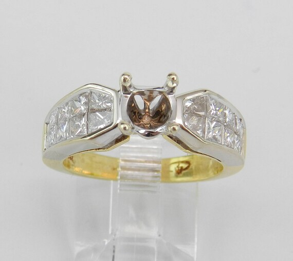Diamond Engagement Ring Setting, 18K White and Yellow Gold, Diamond Setting, Semi Mount Ring, Ring for Diamond, Size 6.25