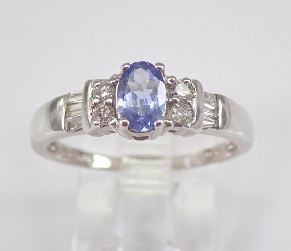 Diamond and Tanzanite Engagement Ring 14K White Gold Size 7 December Birthday