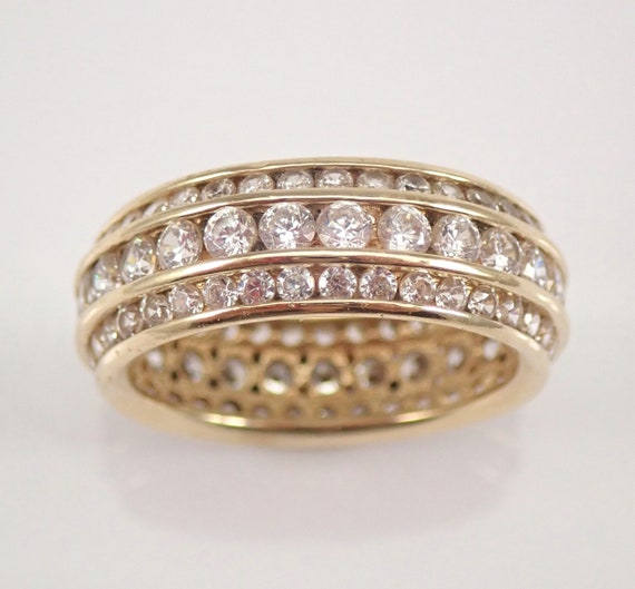 Vintage Estate 14K Yellow Gold Cubic Zirconia Eternity Wedding Ring Anniversary Band Size 6