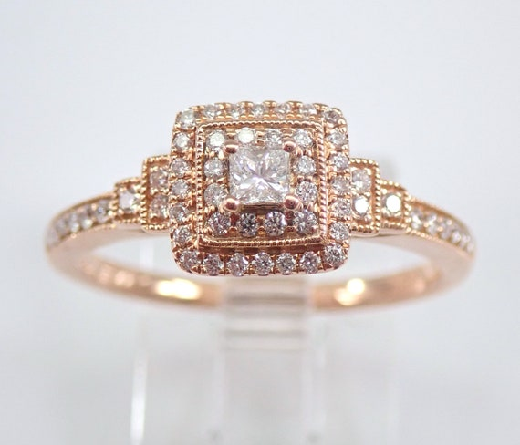 Princess Cut Halo Diamond Engagement Ring 14K Rose Gold Size 7 FREE Sizing