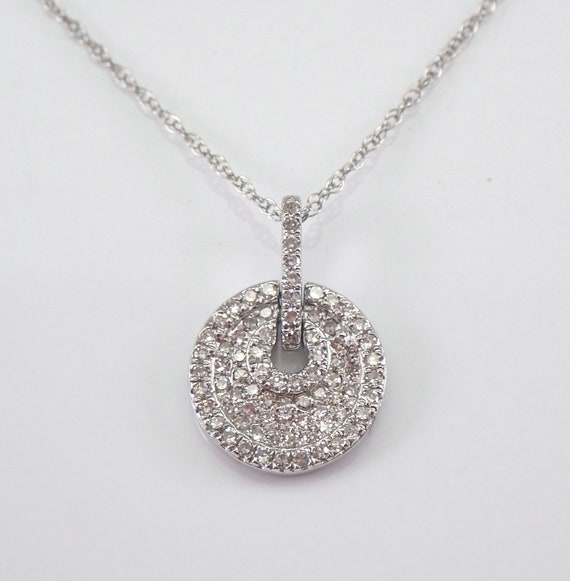 "Diamond Cluster Pendant White Gold Diamond Wedding Necklace Chain 18"" Dog Tag"