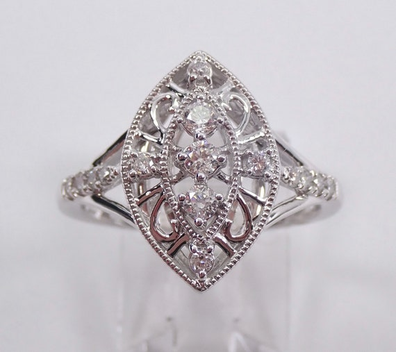 Vintage Style White Gold Diamond Cocktail Cluster Ring Size 7 Antique Look