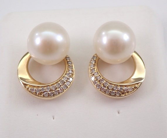 14K Yellow Gold Pearl and Diamond Stud Earrings June Birthstone Button Studs