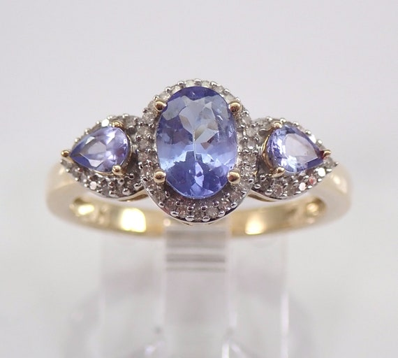 Diamond and Tanzanite Three Stone Engagement Ring Yellow Gold Size 7 December Birthstone