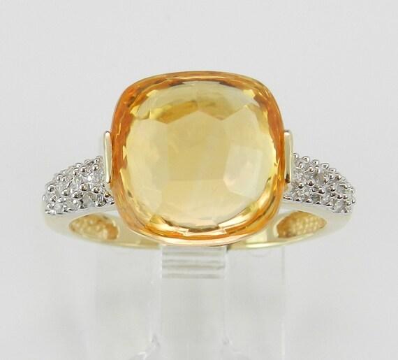 14K Yellow Gold Diamond and Cushion Cut Orange Citrine Engagement Ring November Gemstone Size 7.25