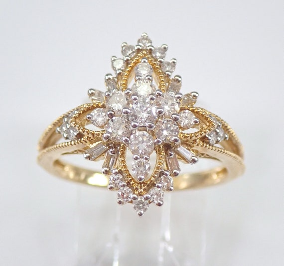 3/4 carat Diamond Cluster Cocktail Ring Right Hand Ring Yellow Gold Size 7 FREE Sizing