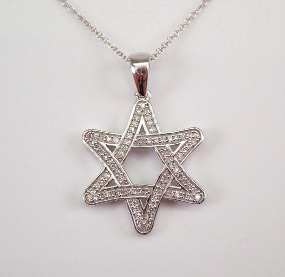 "Diamond Star of David Pendant Necklace 14K White Gold 18"" Chain Jewish Religious Charm"