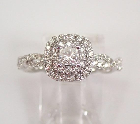 White Gold Princess Cut Diamond Halo Engagement Ring Braided Band Size 7 FREE SIZING