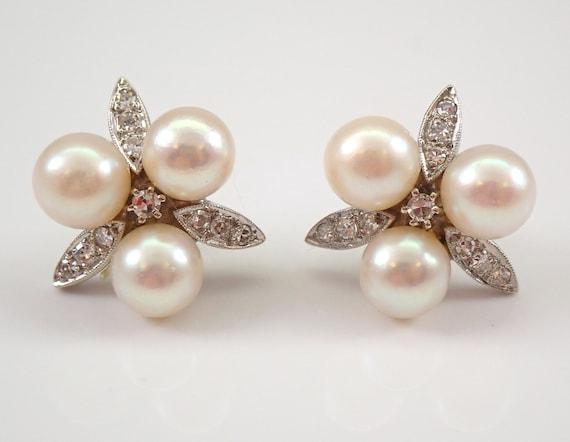 Antique Vintage 14K White Gold Pearl and Diamond Stud Earrings June Birthstone Studs