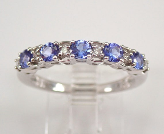 Tanzanite and Diamond Wedding Ring Anniversary Band 14K White Gold Size 7 FREE Sizing