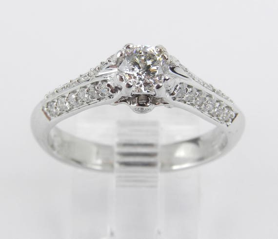 14K White Gold Diamond Engagement Ring Promise Ring Anniversary Ring