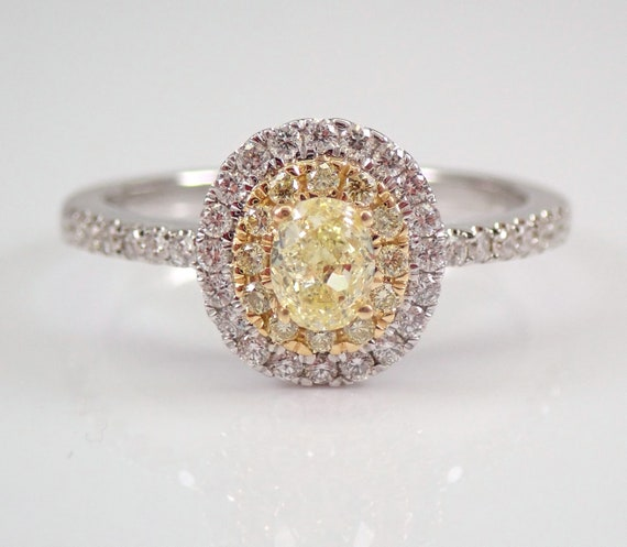 14K White and Yellow Gold Canary Oval Diamond Halo Engagement Ring Size 7