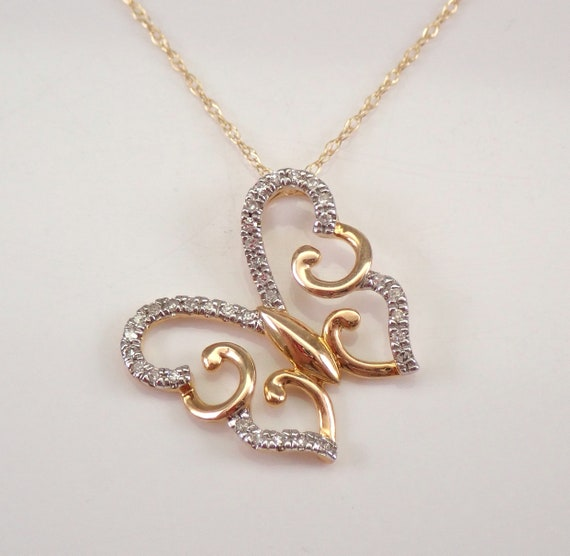 """Yellow Gold Diamond Butterfly Pendant Necklace Chain 18"""" Wedding Birthday Gift"""