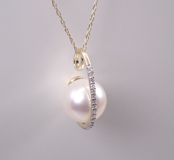 """Yellow Gold Diamond and Pearl Drop Pendant Necklace with Chain 18"""" June Gemstone"""